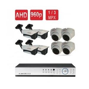 پکیج هشت دوربین مداربسته  مگاپیکسلAHD 1.3  + دی وی آر + متعلقات