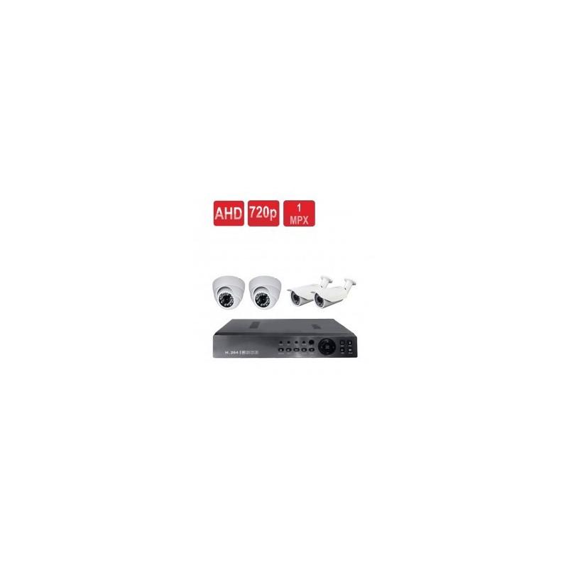 پکیج چهار دوربین مداربسته AHD یک مگاپیکسلی + دی وی آر + متعلقات