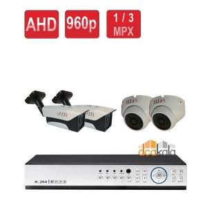 پکیج چهار دوربین مداربسته 1.3 مگاپیکسلAHD  + دی وی آر + متعلقات