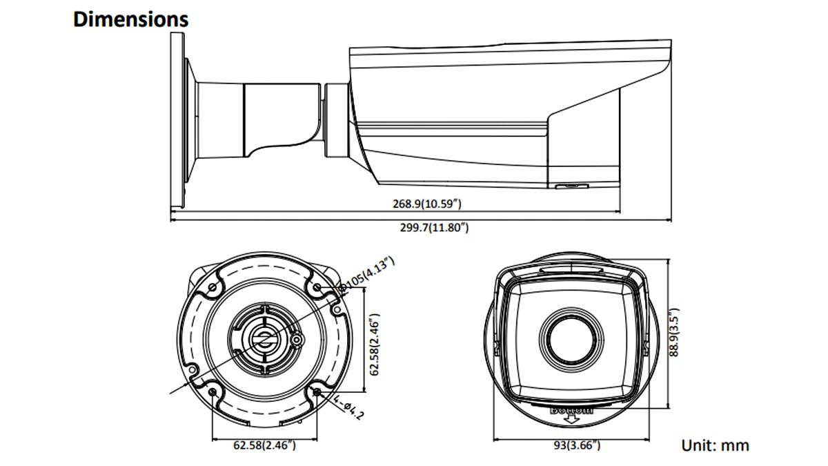 ابعاد بدنه دوربین مدار بسته IP هایک ویژن DS-2CD2T52-I5