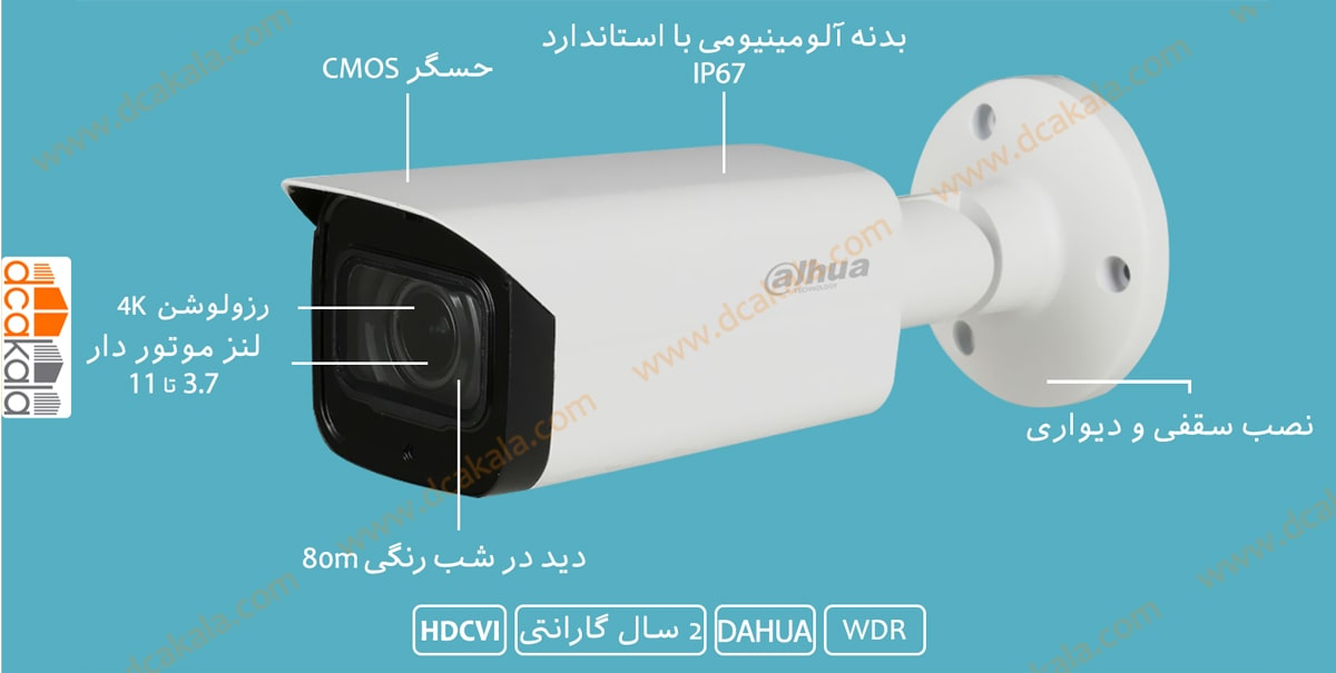 اینفو گرافی دوربین مدار بسته HDCVI داهوا HAC-HFW2601TP-Z-A