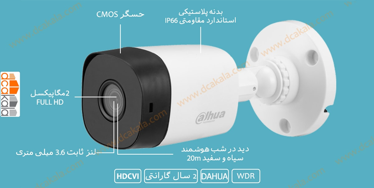 اینفو گرافی دوربین مداربسته داهوا DH-HAC-B1A21P