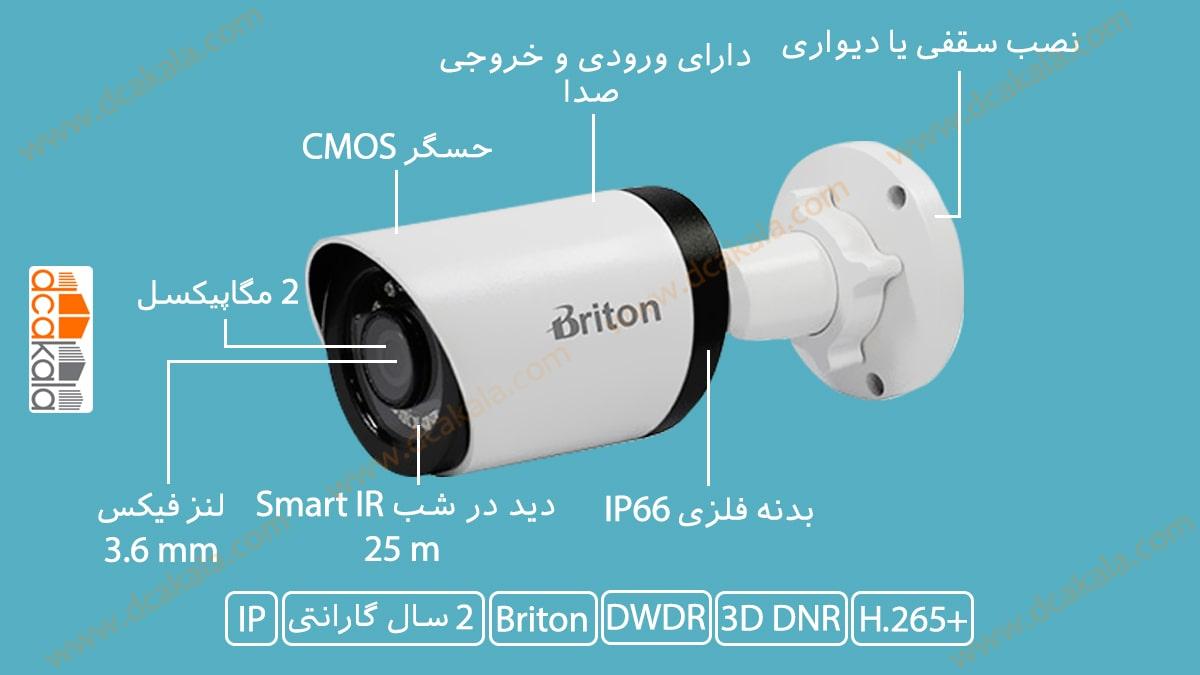 اینفوگرافی دوربین مدار بسته تحت شبکه برایتون مدل IPC70520B17-AI