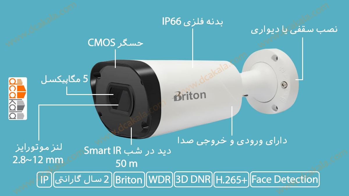 اینفوگرافی دوربین مدار بسته تحت شبکه برایتون مدل IPC70650C29WD-AIZ