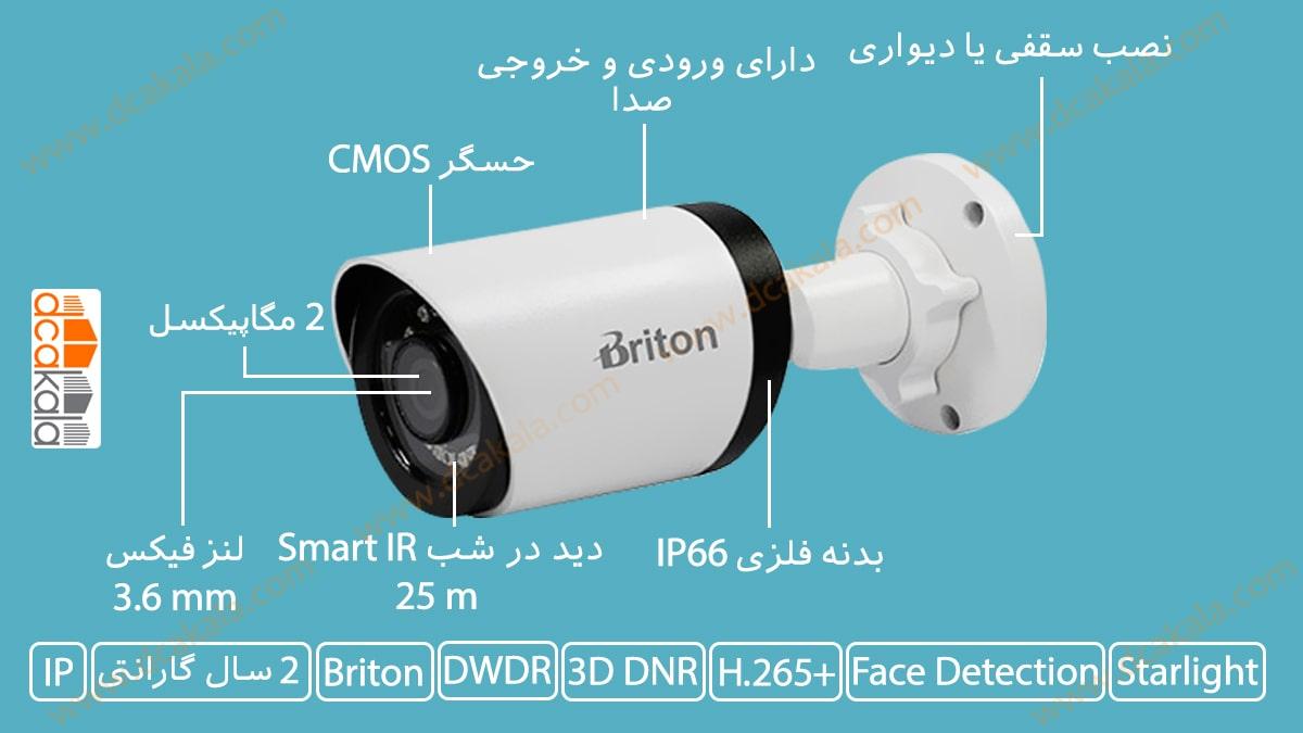 اینفوگرافی دوربین مدار بسته تحت شبکه برایتون مدل IPC74520B17-AI