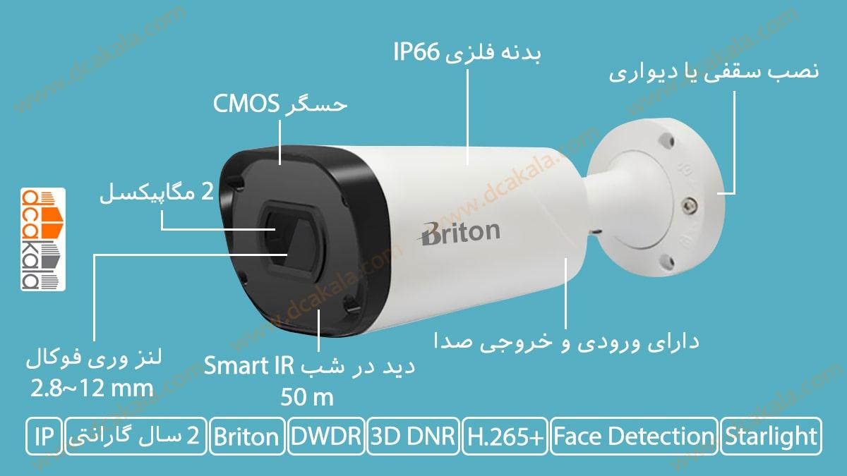 اینفوگرافی دوربین مدار بسته تحت شبکه برایتون مدل IPC74520C29-AI
