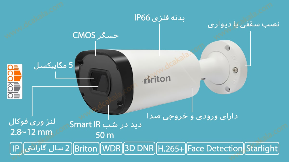 اینفوگرافی دوربین مدار بسته تحت شبکه برایتون مدل IPC74650C29WD-AI