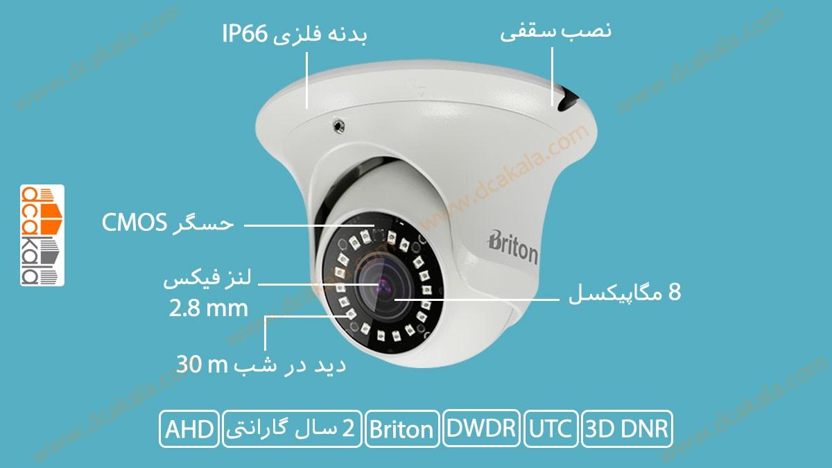 اینفوگرافی دوربین مدار بسته AHD برایتون مدل (UVC62D83(2.8mm