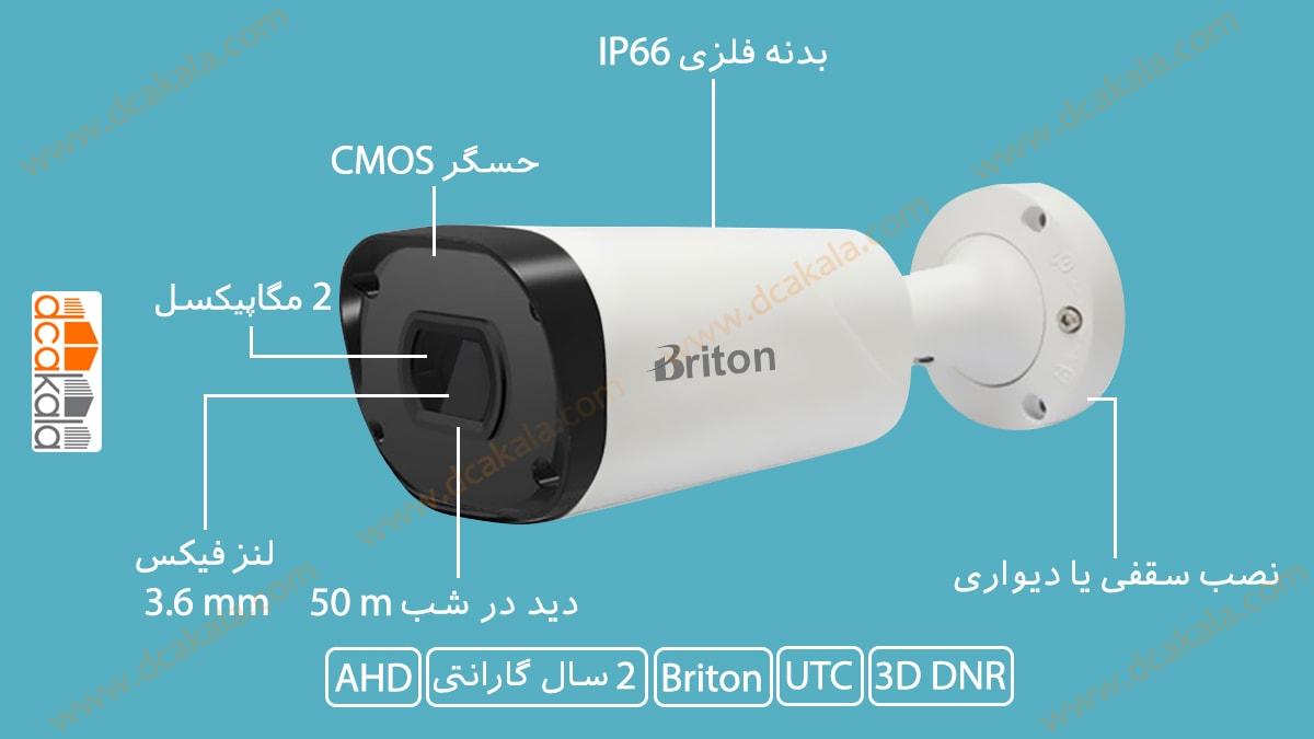 اینفوگرافی دوربین مدار بسته AHD برایتون مدل uvc78b29