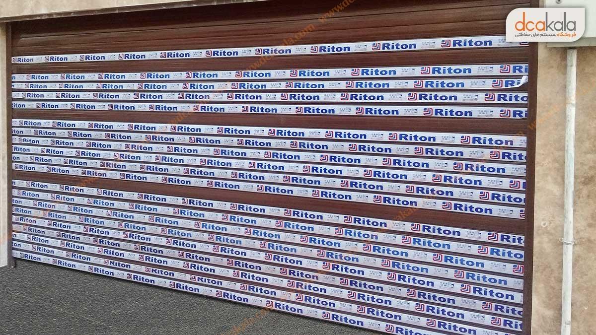 پروژه کرکره برقی طرح چوب برای درب پارکینگ لیبل دار